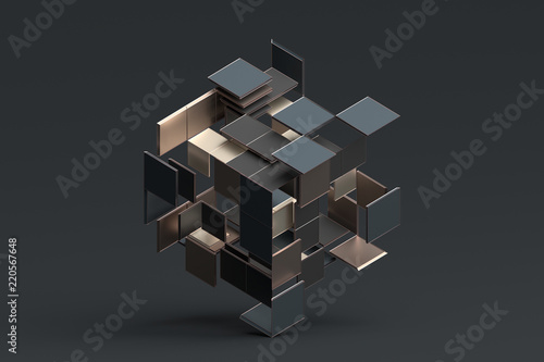 Abstract 3d rendering of geometric shapes Tableau sur Toile