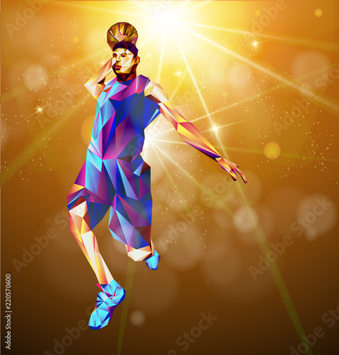 Photo  Colored vector silhouette of basketball player with ball in triangle