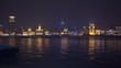 night time illuminated shanghai city river bay panorama 4k china
