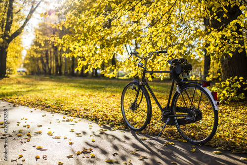 Aluminium Prints Bicycle Bicycle on the street of Riga, Latvia, on a sunny autumn day