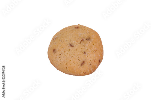 Tuinposter Koekjes Homemade chocolate chip cookie isolated on white background. Sweet biscuit.