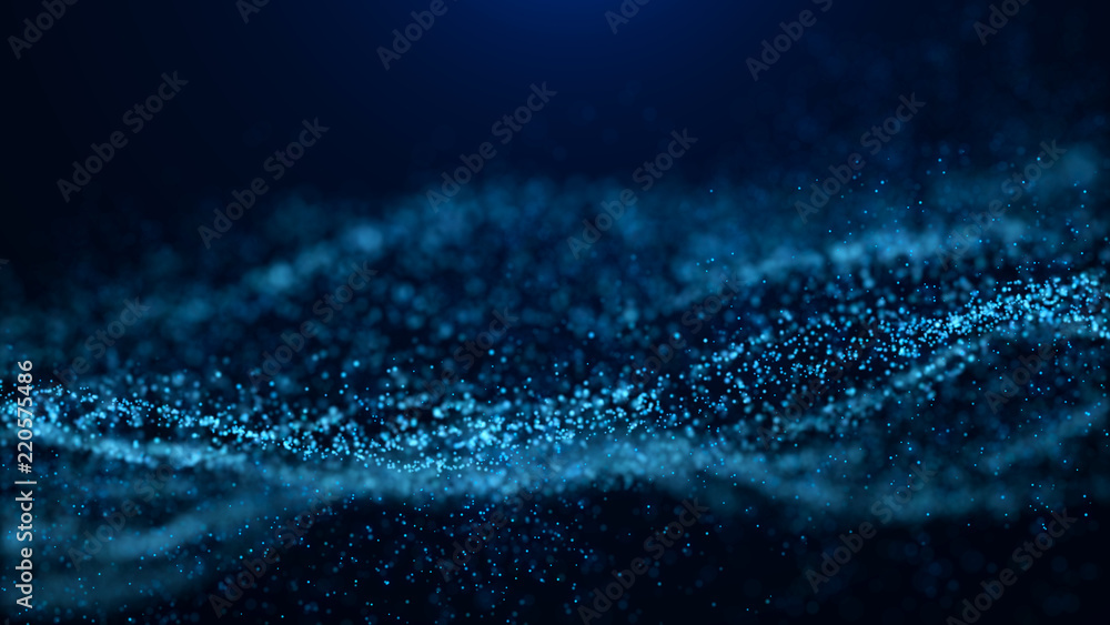 Fototapeta Wave of particles. Abstract particle. Data visualization. Abstract digital background. 4k rendering.