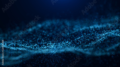 Poster Fractal waves Wave of particles. Abstract particle. Data visualization. Abstract digital background. 4k rendering.