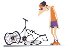 Cyclist And A Broken Bike Isol...