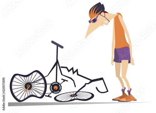 Cyclist and a broken bike isolated illustration Canvas Print