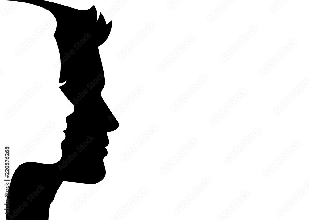 Fototapeta Man and woman silhouette face on face – stock vector