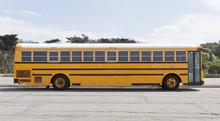 Empty School Bus Parked In Emp...