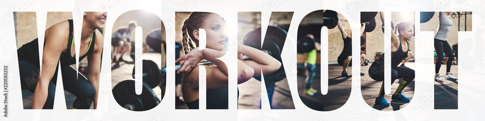 Fototapety, obrazy: Collage of a fit woman working out with gym weights