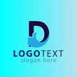 D letter with thumb logo icon vector template