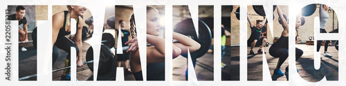 Fotomural Collage of a woman doing weight training at the gym