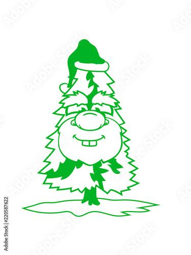 Tannenbaum Lustig.Gesicht Lustig Weiß Grün Weihnachtsbaum Weihnachten Nikolaus Winter