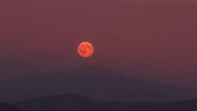 Red Full Moon Rising Over Top ...