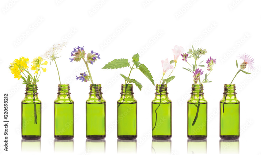 Fototapety, obrazy: Natural remedies, aromatherapy - bottle
