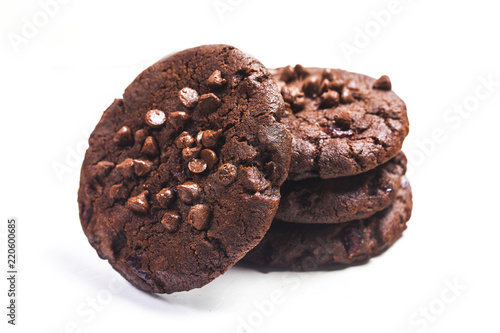 biscuits with chocolate isolated on white background
