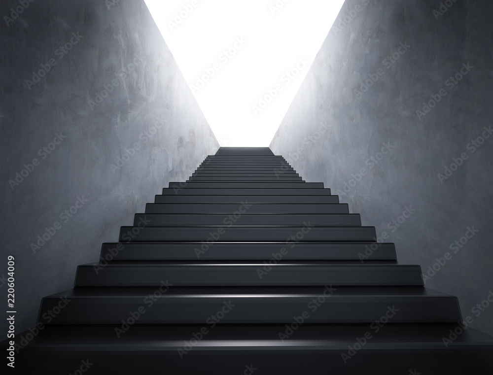 Fototapety, obrazy: empty staircase with shining light
