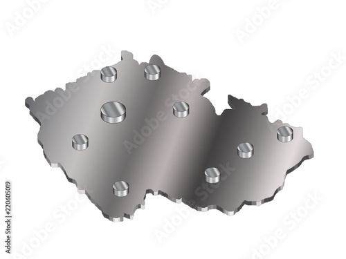 Photo  3 d map of the czech republic with a metal gradient and cylindrical icons of cit