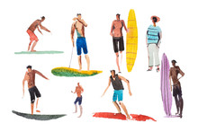 Surfing Characters On Surfboar...