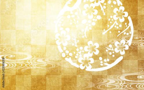 Fotografia  梅と金色の市松模様の背景