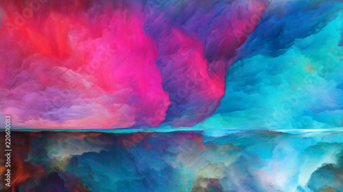 Wall Murals Candy pink Visualization of Horizon Division