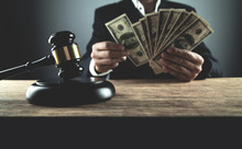 Judge Counting Dollars. Corruption In Justice