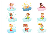 Lovely Little Boys And Girls Sitting On A Clouds Playing Toys, Listening Music, Reading Book, Sleeping, Dreaming Colorful Characters Vector Illustrations