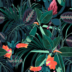 Beautiful seamless floral pattern background with tropical dark jungle plants and flowers. Perfect for wallpapers, web page backgrounds, surface textures, textile. Black background.