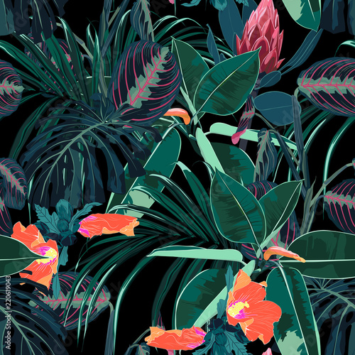 Tuinposter Vlinders Beautiful seamless floral pattern background with tropical dark jungle plants and flowers. Perfect for wallpapers, web page backgrounds, surface textures, textile. Black background.