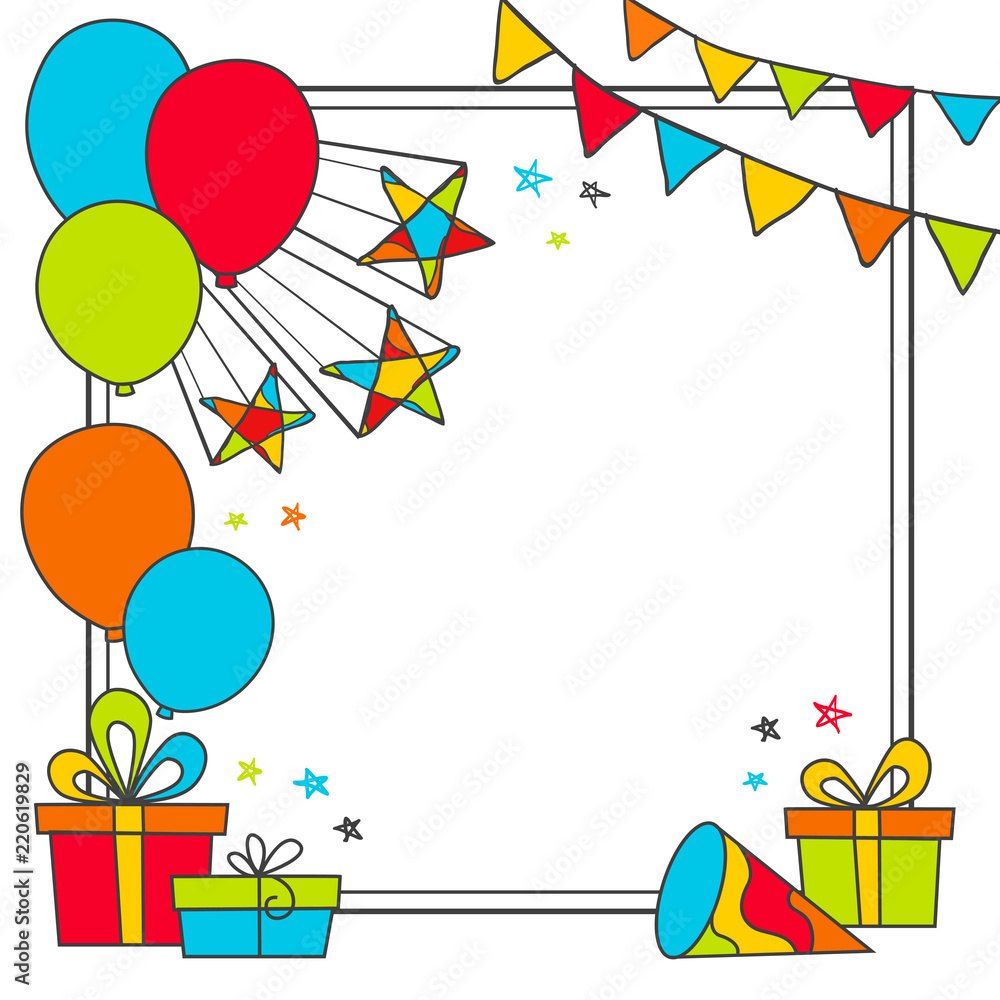 Happy Birthday Greeting Card With Flags Stars Gifts And Balloons Foto Poster Wandbilder Bei EuroPosters
