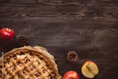 Traditional homemade apple pie on the wooden table with copy space Wallpaper Mural