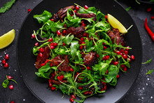 Spicy Crispy Duck Salad With Pomegranate Seeds, Lime And Wild Green Rucola
