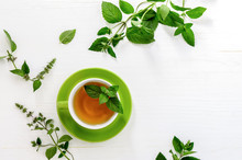 Mint Tea Background With A Spa...