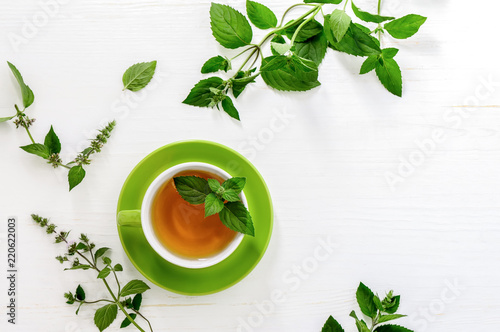 Valokuvatapetti Mint tea background with a space for a text