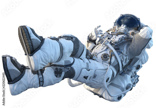 Tela Astronaut on white. Mixed media