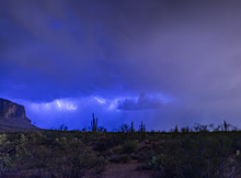 Monsoon Storms In The Sonoran Desert Near Phoenix, Arizona Causes Lightening, Misty, Swirling Clouds And A Stormy Look And Feel To The Desert