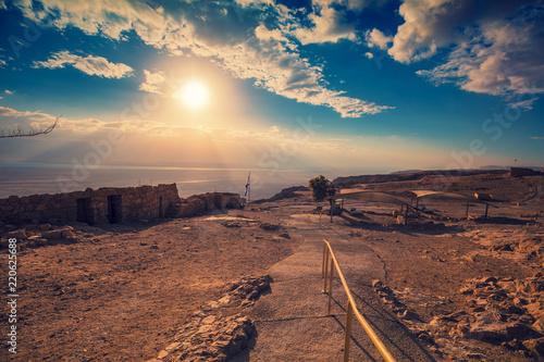 Obraz na plátně  Beautiful sunrise over Masada fortress