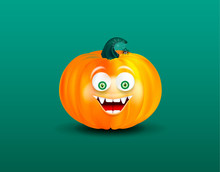 Orange Happy Smiling Pampkin Face With Cute Spider On Cobweb On Dark Green Background. Halloween Icon Or Object.