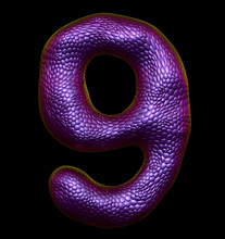 Number 9 Nine Made Of Natural Purple Snake Skin Texture Isolated On Black