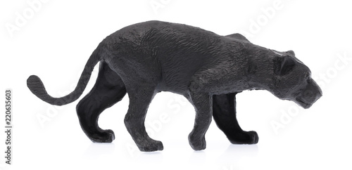 Photo Stands Panther toy plastic black tiger isolated on white background
