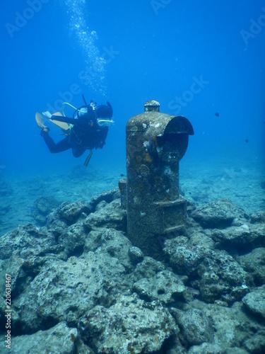Fotografie, Obraz  Buzon de correos debajo del mar de Okinawa, Japon