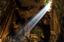 Shafts Of Sunlight From Mulu Cave Roof Illuminate The Chamber