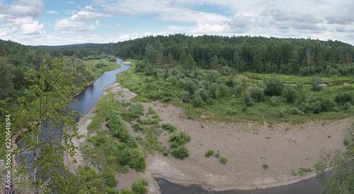 Spoed Foto op Canvas Khaki Beautiful mountain landscape with river, Russia, Urals