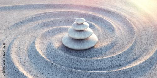 Foto op Plexiglas Stenen in het Zand Zen - Steinturm im Sand mit Wellen
