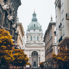 Cityscape Of Budapest Old Church In Center. Autumn Is Coming