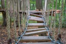 Rope Bridge At Adventure Climbing Park