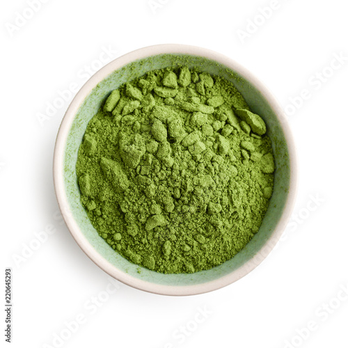 Foto op Plexiglas Kruiderij Bowl of matcha powder isolated on white background, top view
