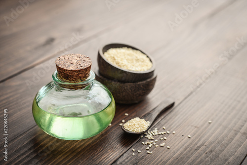 Sesame oil in glass bottle