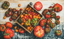 Flat-lay Of Fresh Colorful Ripe Fall Or Summer Heirloom, Bunch And Cherry Tomatoes Over Rustic Wooden Background, Top View, Horizontal Composition. Local Market Seasonal Produce