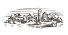 Farm Landscape Illustration. V...