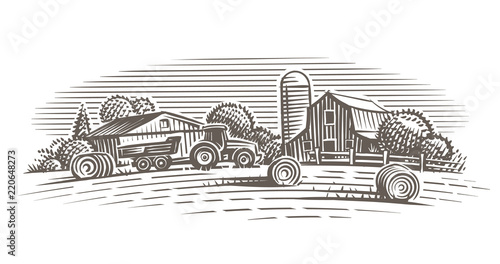 Fotografiet  Farm landscape illustration. Vector.