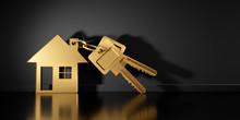 Goldener Schlüssel Mit Anhänger In Hausform